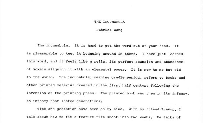 THE INCUNABULA -1-